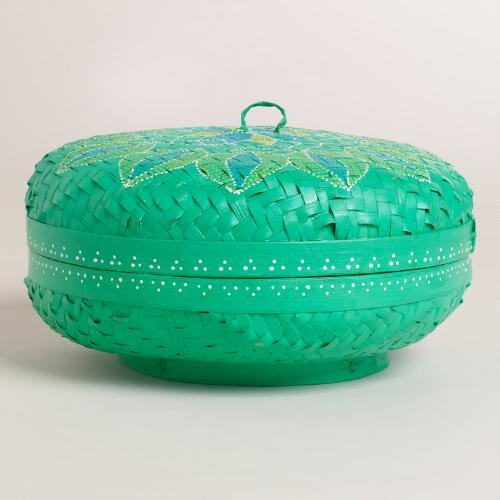 Large Turquoise Painted Bamboo Offering Basket