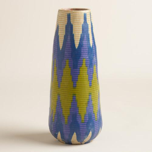 Large Fabric Wrapped Terracotta Vase