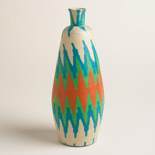 Extra Large Fabric Wrapped Terracotta Vase