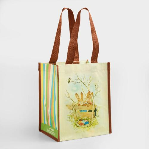 Small Garden Easter Bunny Tote Bags Set of 2