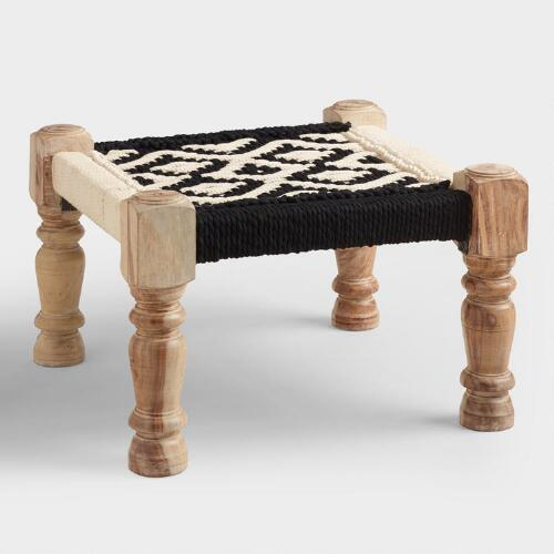 Black and White Wood and Fabric Stool