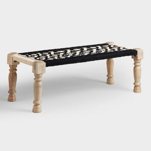 Black and White Wood and Fabric Bench