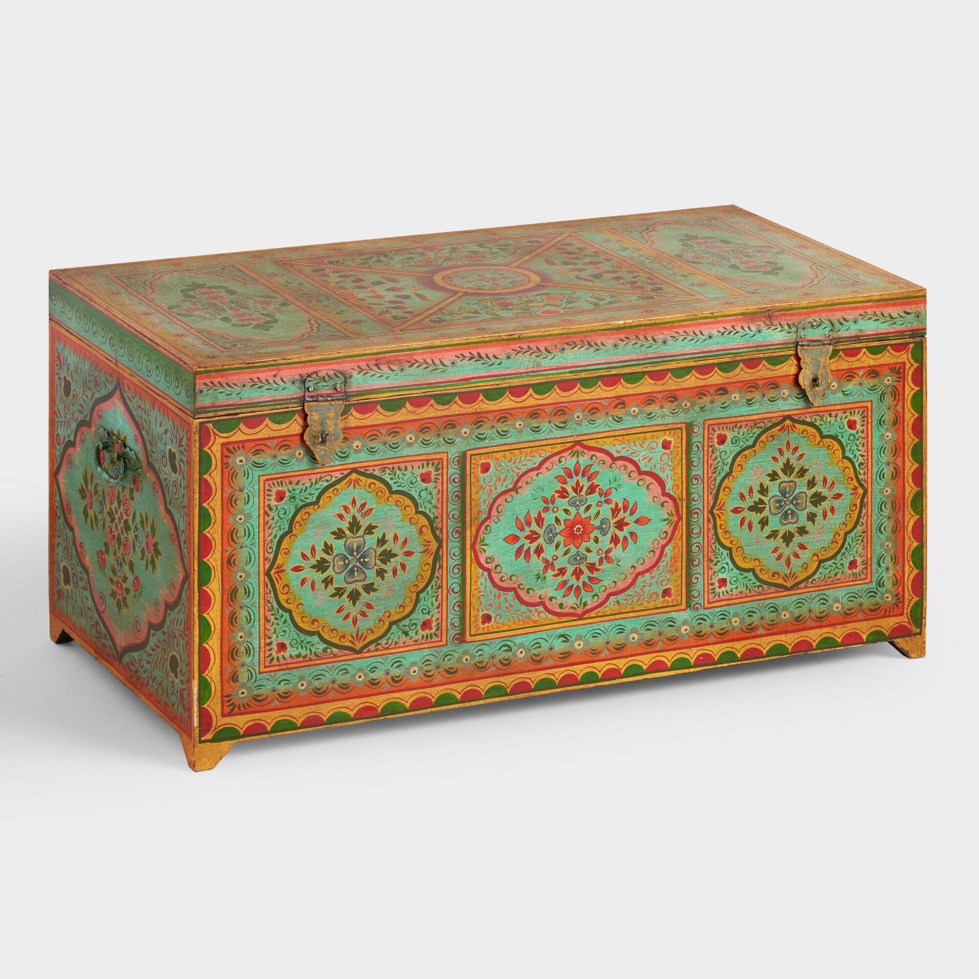 large teal painted wood trunk world market