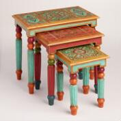 Painted Wood Nesting Tables Set of 3