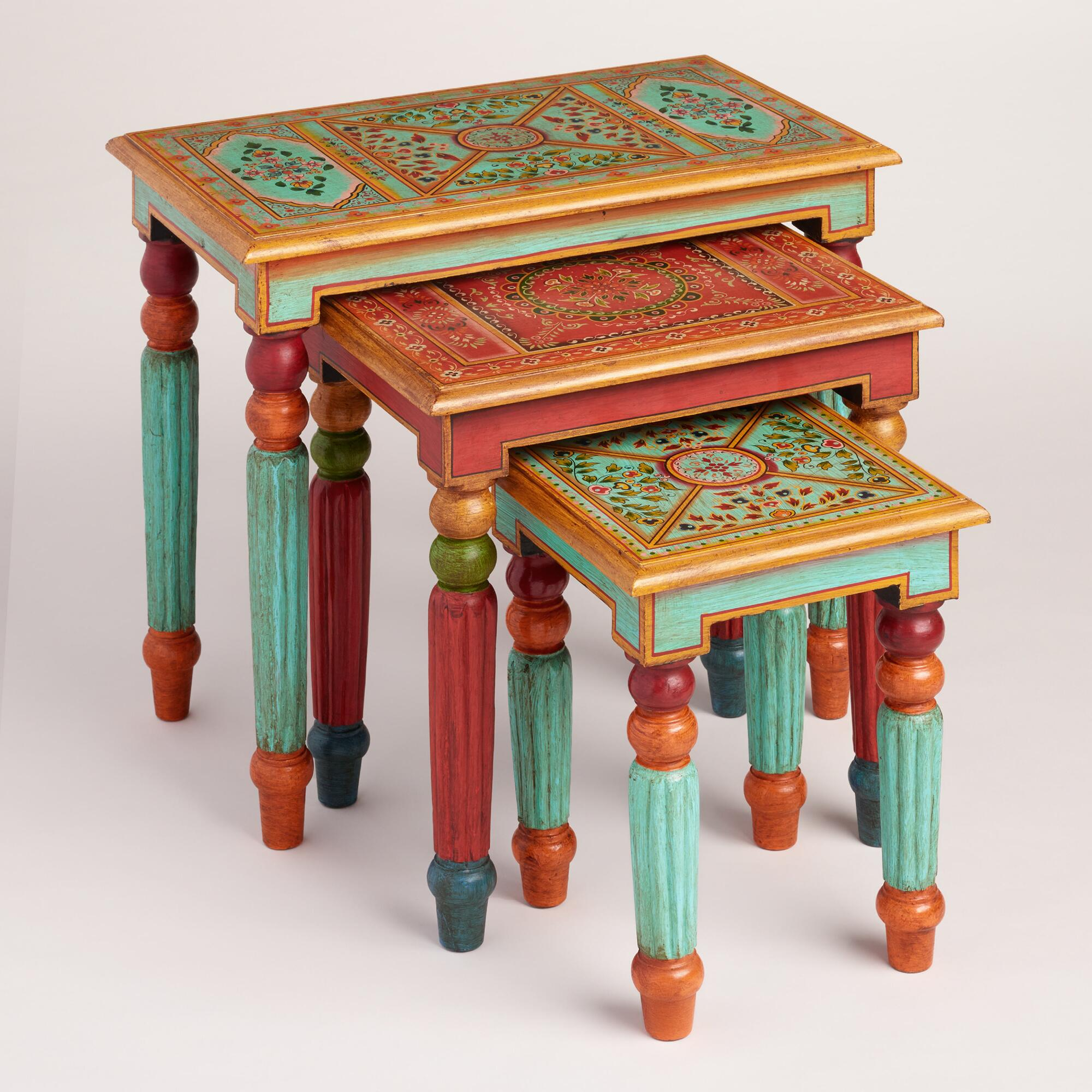 Painted wood nesting tables set of world market