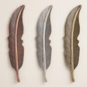Metal Feather Decor Set of 3
