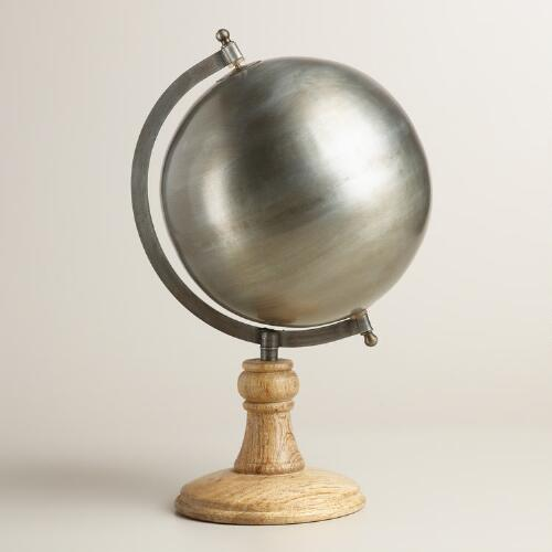 Metal Globe with Wood Stand