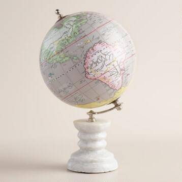 Gray Globe with Marble Stand