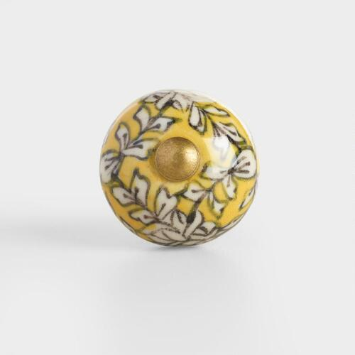 Yellow Floral Mini Ceramic Knobs Set of 2