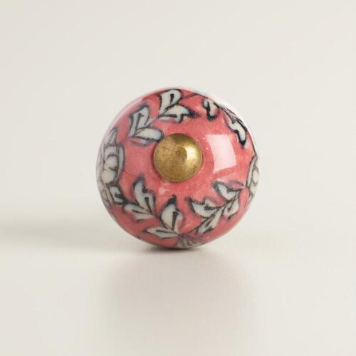 Pink Floral Mini Ceramic Knobs Set of 2