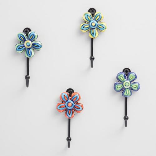 Ceramic Flower Hooks Set of 4