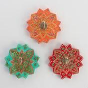 Painted Wood Medallion Hooks Set of 3