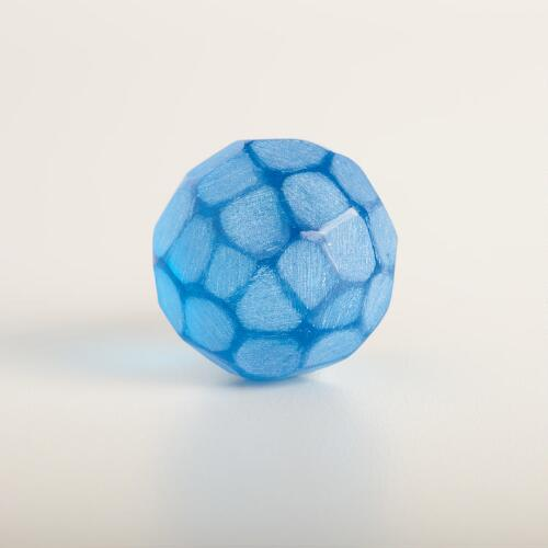 Blue Glass Faceted Knobs Set of 2