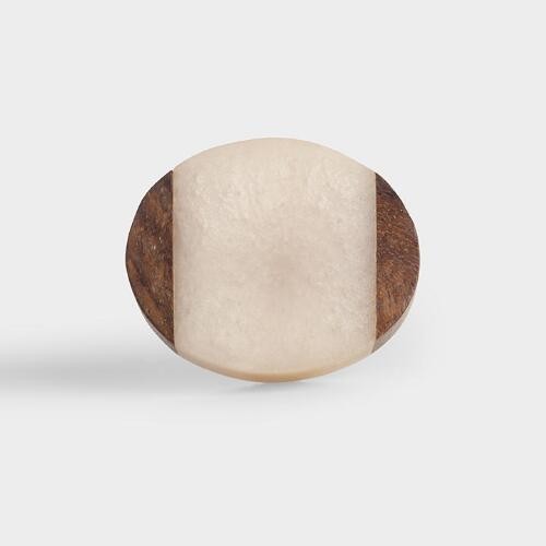 Oval Wood and White Resin Knobs Set of 2