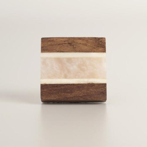 Square Wood and White Resin Knobs Set of 2