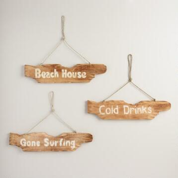 Driftwood Beach Signs Set of 3