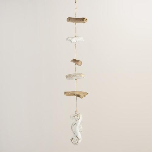 Driftwood and Stone Seahorse Hanging Decor
