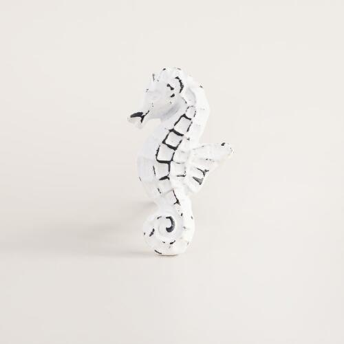 White Cast Iron Seahorse Knobs Set of 2