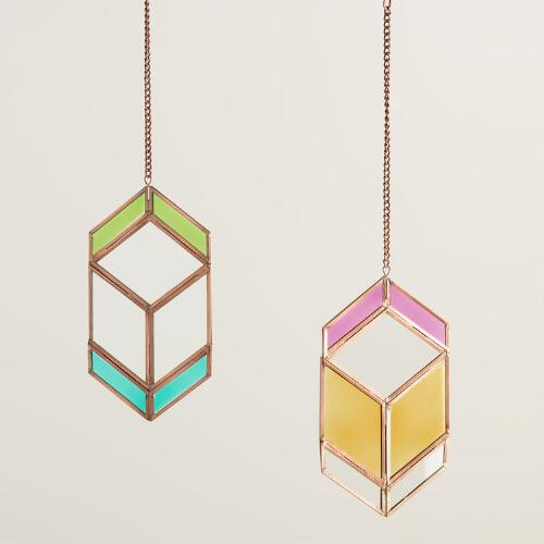 Small Faceted Glass Hanging Decor Set of 2