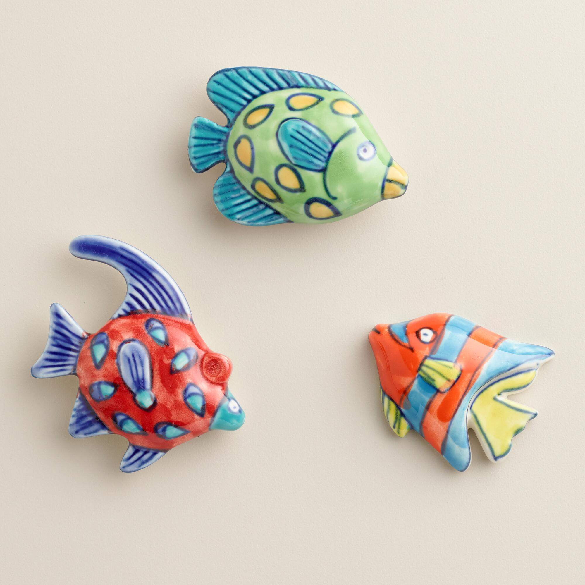Painted ceramic fish magnets set of 3 world market for Fishing magnets for sale