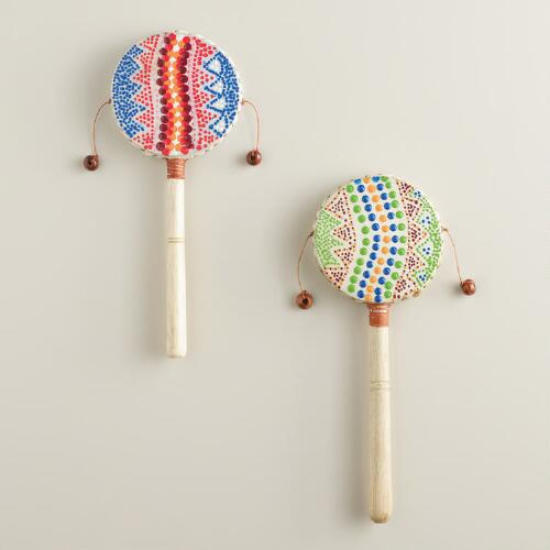 Painted Leather Hand Drums Set of 2