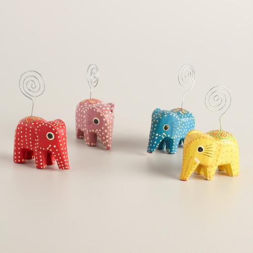 Dotted Elephant Cardholders Set of 4