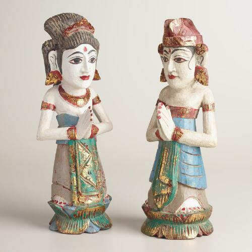 Wood Indonesian Married Figures Set of 2