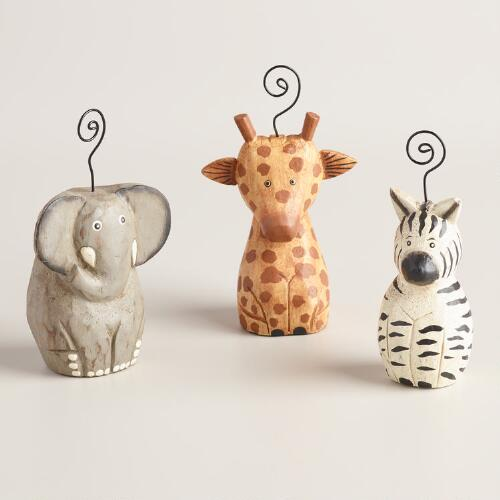 Wood Safari Animal Cardholders Set of 3