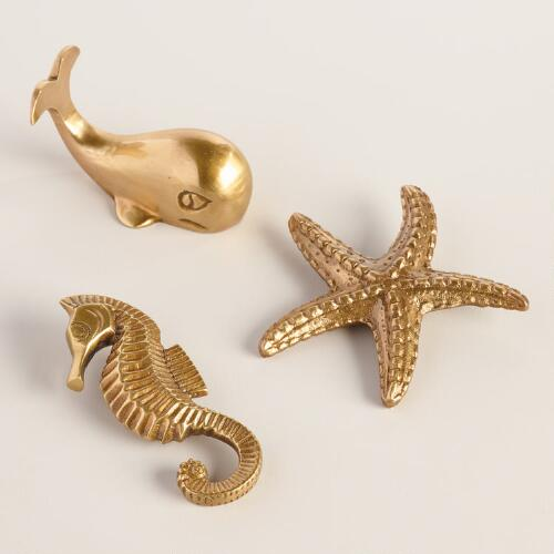 Brass Seahorse, Whale and Starfish Paperweights Set of 3