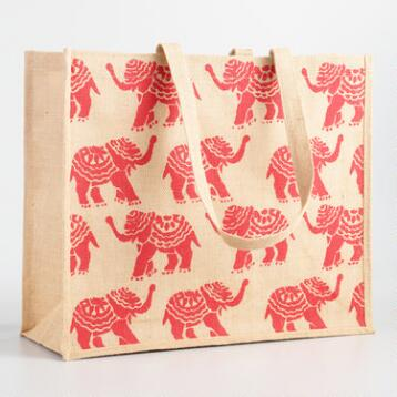 Orange Elephant Jute Tote Bag