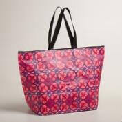Pink Sea Tile Zip Tote Bag