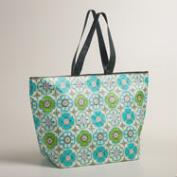 Blue Cayman Tile Zip Tote Bag