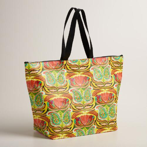 Yellow Santiago Paisley Zip Tote Bag