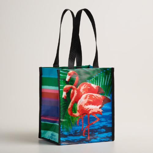 Small Green Flamingo Tote Bags Set of 2