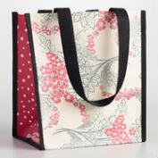 Small Pink and Gray Floral Tote Bags Set of 2