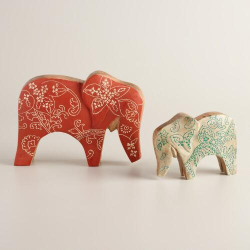 Painted Wood Elephant Figure