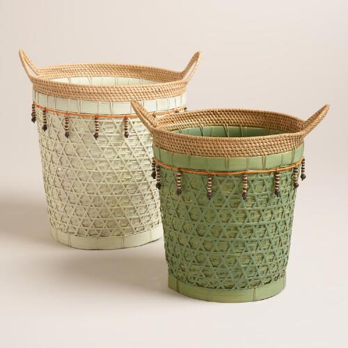Woven Rattan Basket with Beads