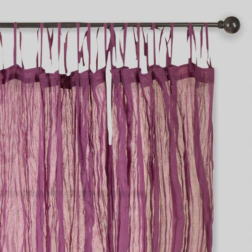 Purple Crinkle Voile Cotton Curtains Set of 2