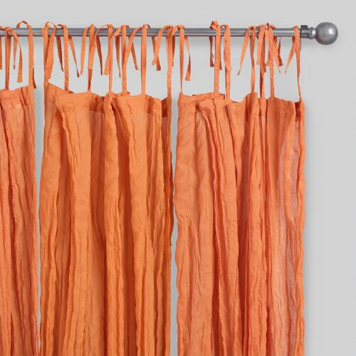 Orange Crinkle  Sheer Voile Cotton Curtains Set of 2