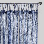 Blue Wave Print Crinkle Sheer Voile Curtains Set of 2