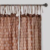 Mocha Bhuti Crinkle Voile Cotton Curtains Set of 2