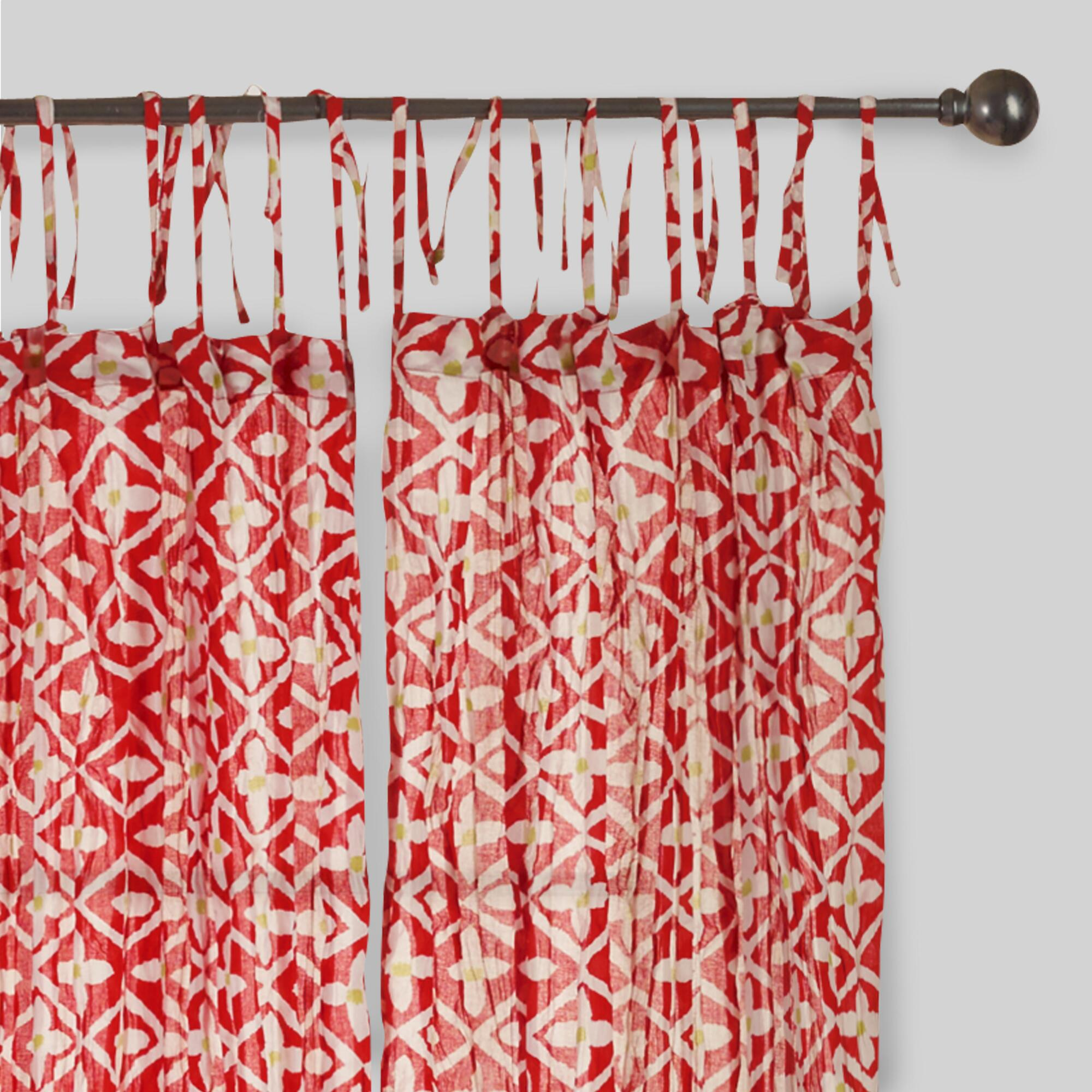 Red And White Crinkle Voile Cotton Curtains Set Of 2