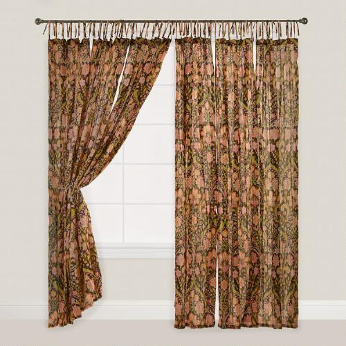 Black Floral Maya Crinkle Voile Cotton Curtains Set of 2