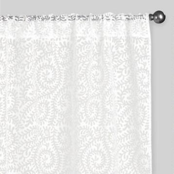 White Leaf Sheer Sleevetop Burnout Curtains Set of 2