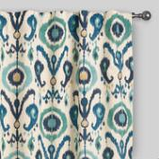 Indigo Ikat Concealed Tab Top Curtains