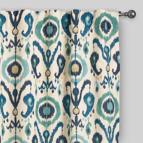 Indigo Ikat Concealed Tab Top Curtains Set of 2
