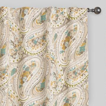 Gray and Aqua Paisley Concealed Tab Top Curtains