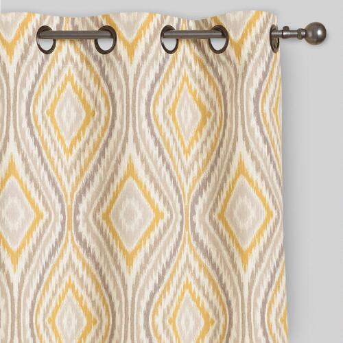 Yellow Ikat Eclipse Grommet Top Curtains Set of 2