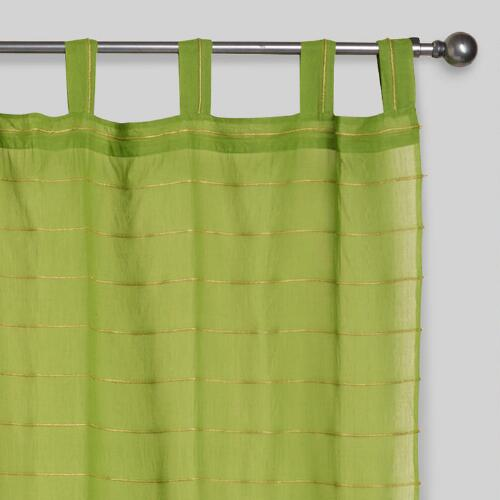 Peridot Striped Sahaj Jute Tab Top Curtains Set of 2