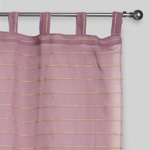 Lavender Striped Sahaj Jute Tab Top Curtains Set of 2